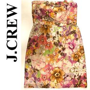 J.CREW strapless floral summer dress 4 cotton/silk